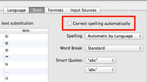 turn off auto correct Turn Off Auto Correct in Mac OS X Lion